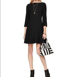 Kate Spade New York Black Crepe Flounce Dress
